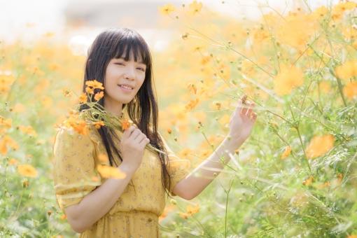 黄色い花を摘む女性の写真