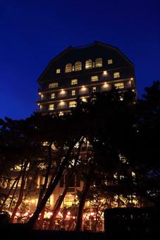 夜 夜景 建物 建築物 建造物 ホテル 窓 電気 イルミネーション 空 夜空 外観 自然 植物 木 樹 樹木 シルエット 影 暖色 部屋 客室 明り ライト 光り