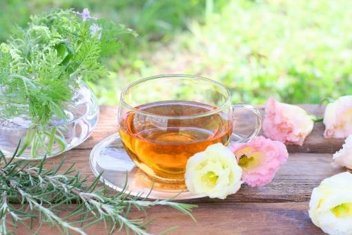 休憩 お茶 紅茶 花 庭 トルコキキョウ ガーデン ラベンダー ローズマリー ハーブティー ゼラニウム トルコ桔梗 休けい