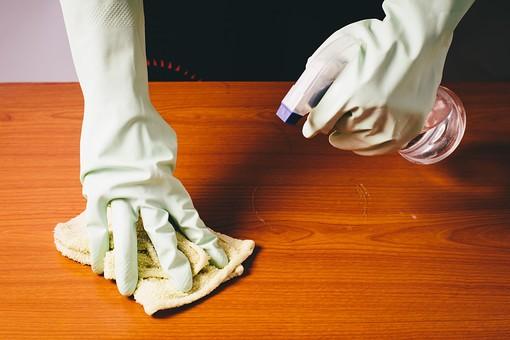 クリーナー 汚れ 木目 床 テーブル 机 屋内  掃除 洗剤 洗う 家庭 清潔 綺麗 きれい 家事 濯ぐ 衛生 労働 クローズアップ タオル 布 雑巾 黄緑 片手 掴む 握る 擦る 拭き取り 霧吹き スプレー 水 拭く 拭き掃除