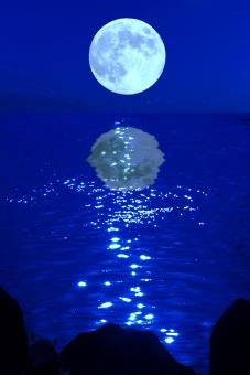 月 海 夜 星 天体 宇宙 空 幻想的 抽象的 月明かり ムーンライト 青 ブルー ブルームーン 満月