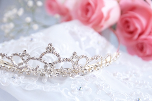 レース 手袋 グローブ ウェディング 結婚式 ジューンブライド ブライダル 薔薇 ばら ピンク ピンクの花 キラキラ ビーズ ジルコニア 王冠