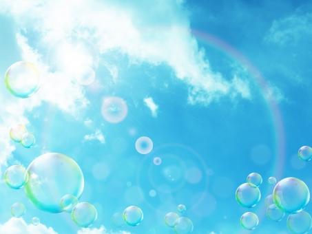明るい 日差し 夏 空 青空 シャボン玉 しゃぼん玉 春 背景 夏休み 雲 光 逆光 バックグラウンド 輝き エコ さわやか 清々しい 初夏 クリーン きらきら キラキラ 透明感 軽やか バブル 天空 フレア ハレーション 五月晴れ 浮遊感