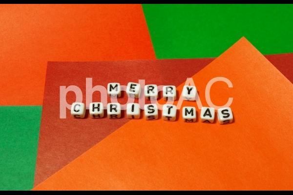 文字キューブ MERRY CHRISTMAS メリークリスマス 正面の写真