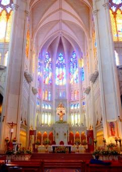 教会 ステンドグラス メキシコ 海外 青 白 窓 ガラス 光