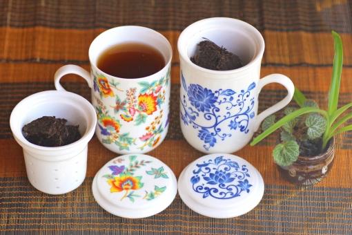 茶器 台湾 中国茶 お茶 陶器 プーアル茶 湯呑 茶葉 茶こし プーアール茶 プーアール 中国 黒茶 ダイエット 健康 健康茶 アジア アジアン アジアンテイスト アジア風 茶道具 蓋碗 がいわん 花柄 柄 お土産 花布柄