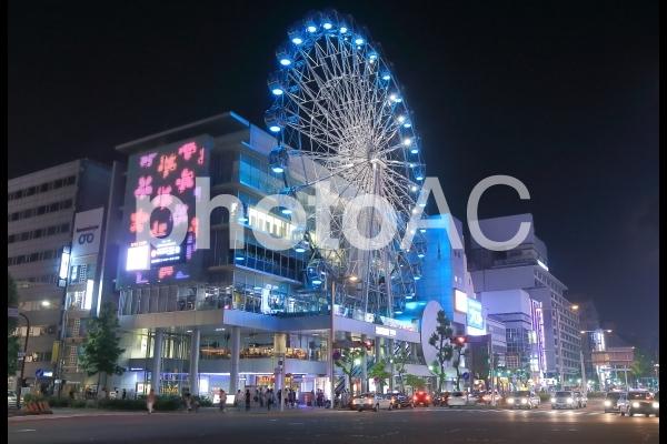 愛知県 名古屋の市街地の夜景の写真