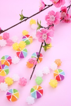 ひなまつり ひな祭り 和 和のイメージ 和紙 ピンク かわいい 風車飴 コンペイトウ 金平糖 こんぺいとう ドロップ ベビードロップ 飴 カラフル 丸い 和菓子 お菓子 お花  梅 桃 花