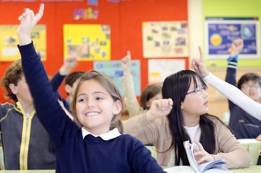 人物 生物 人間 外国人 子ども かわいい 小さい キッズ 生徒 学生 学童 幼い 学校 勉強 学び 教育 授業 クラス まじめ 教室 机 挙手 発言 積極的 元気 手を挙げる 意志 ポーズ 指差し 女の子 女子 mdfk026 mdfk027