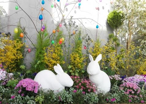花 植物 石像 たまご 自然 ガーデン 庭 緑 みどり 春 イースター うさぎ 動物 どうぶつ 木 葉 カラフル お祝い 日本 屋内 デコレーション 装飾 展示 可愛い かわいい きれい 行事 背景 テクスチャ