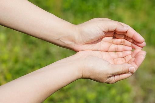 人物 手 両手 合わせる 手のひら 掌 囲む 差し出す 持ち上げる 自然 エコ 環境 ナチュラル スピリチュアル パワー エネルギー 恵み 屋外 野外 外 アップ パワースポット 恩恵 もらう 受け取る 仕草 動作