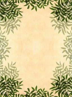 緑 枝 枝木 葉 葉っぱ リーフ 樹枝 ベージュ レトロ 植物 枝葉 背景 背景素材 バックグラウンド 自然 空間 余白 テクスチャ 質感 テキストスペース コピースペース 枠 フレーム ナチュラル グリーン 飾り枠 濃緑 シンプル 自然派 エコロジー 透ける 透かし 半透明