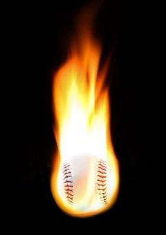 野球 ボール 火の玉 燃える ファイア 一球入魂 ファイアボール 火の玉 球 ベースボール 高校野球 夏の甲子園 春の選抜 甲子園 プロ野球 熱闘 メジャーリーグ スポーツ 熱い 魂 スピリット 戦う 試合 不屈 火 炎 燃え上がる 気持ち 勇ましい 激しい