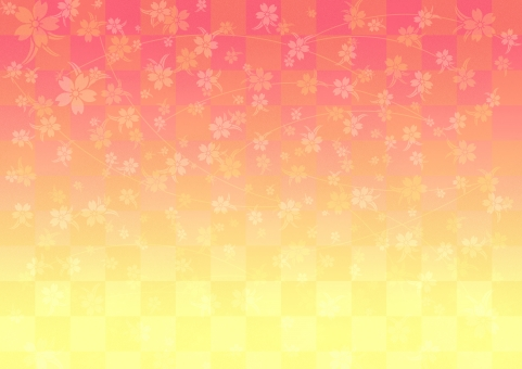 ピンク 橙 オレンジ 黄色 明るい テクスチャ  テクスチャー  伝統模様   市松模様  背景   背景素材 工芸  壁紙  屏風  和紙 歌舞伎 汚れ かすれ サクラ 桜 和柄 しだれ桜 慶事 お正月