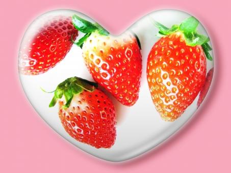 ハート はーと heart 素材 背景 アイコン ラブ love 愛 ロマンチック バレンタイン フレーム クリスタル風 枠 いちご イチゴ 苺 赤 strawberry ストロベリー