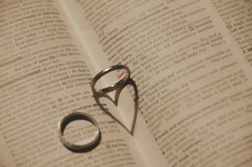 指輪 ハート 影 辞書 辞典 結婚指輪 結婚 リング ペアリング 愛 愛情 love ブライダル ウエディング 新郎 新婦 花嫁