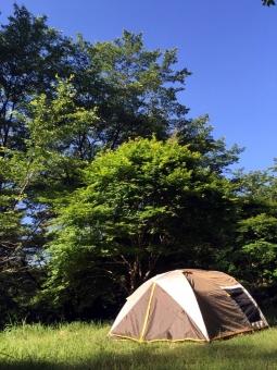 キャンプ アウトドア テント 青空 晴れ 木々 山 森 空 自然 泊り 登山 風景 景色 植物 緑 日差し 森林浴 森林