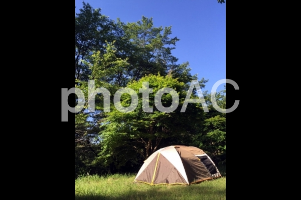 青空とテント1の写真