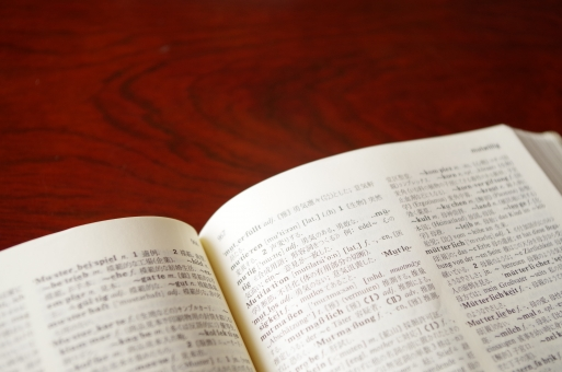 辞書 本 読書 勉強 外国語 ドイツ語 机 書籍 学校 学問 辞典