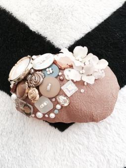 ヘッドドレス ヘアアクセ オシャレ ウェディング ハンクラ ハンドメイド ヴィンテージ ボタン レース 造花 花 ビーズ パール