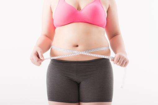 日本人 女性 ぽっちゃり 肥満 ダイエット 痩せる 痩せたい 目標 ビフォー アフター 太っている 太り気味 メタボ メタボリックシンドローム 脂肪 体系 ボディー 白バック 白背景 上半身 お腹 お腹周り ウエスト パーツ 体のみ 肉 メジャー 計測 測る 計る サイズ 気にする 気になる 正面