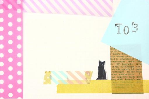 マスキングテープ 紙 メモ クラフト フレーム 余白 カラフル ポップ 額 額縁 バックグラウンド 背景 背景素材 枠 雑貨 手紙 レター ステーショナリー 道具 ライフスタイル コラージュ デコ カード スクラップブッキング デザイン アート 楽しい 明るい 破る ちぎる 切り抜き テキストスペース コピースペース シール ピンク ドット ストライプ 猫 キャット 黒猫 103 数字 ピンク
