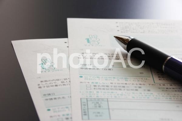 マイナンバー通知カード2枚とペンの写真