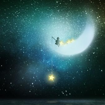 三日月から星を釣るの写真