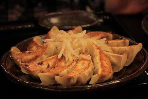 餃子 ぎょうざ ギョウザ 焼き餃子 焼き目 きつね色 焼き色 中華 中華料理 中華街 にんにく ニンニク 美味しい おいしい うまい ウマイ 旨い 昼食 夕食 夜食 熱い アツアツ あつあつ もやし モヤシ
