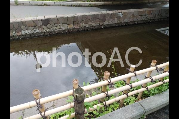 川沿いの道の写真