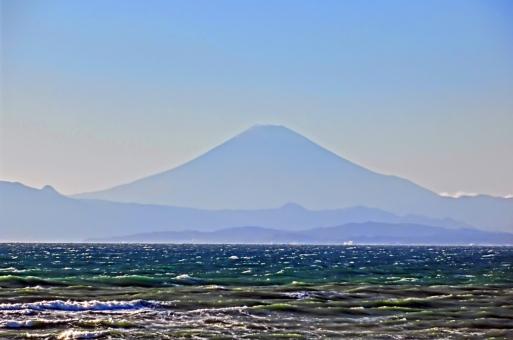 富士と海の写真