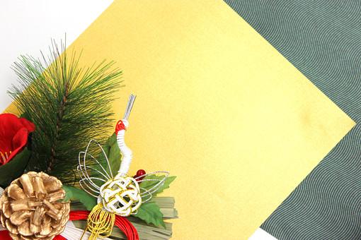 正月 新年 年賀状 素材 和 鶴 松 松ぼっくり 正月飾り