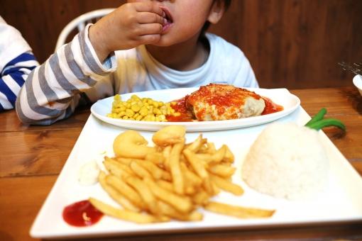 子供 男の子 少年 幼児 フライドポテト ポテト おこさまランチ お子様ランチ ケチャップ ボーダー 食べる 美味しい