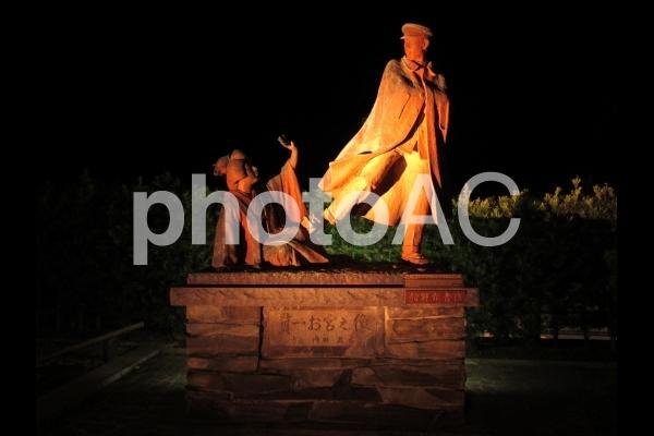 貫一とお宮の像の写真