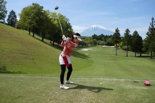 富士山の景色とゴルフの写真