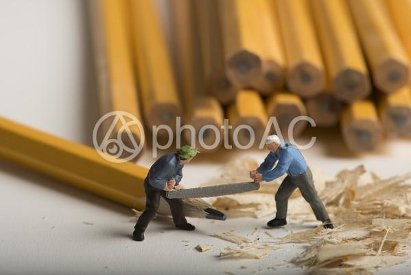 鉛筆を伐採する男性のミニチュア6の写真