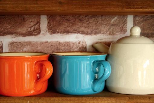 マグカップ カップ ティーポット コーヒー 紅茶 お茶 喫茶店 おそろい 新生活 カフェ オレンジ 青 陶器 台所 ペア カップル