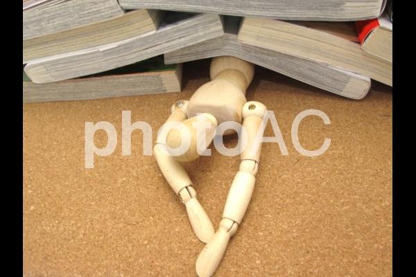 本に埋もれるの写真