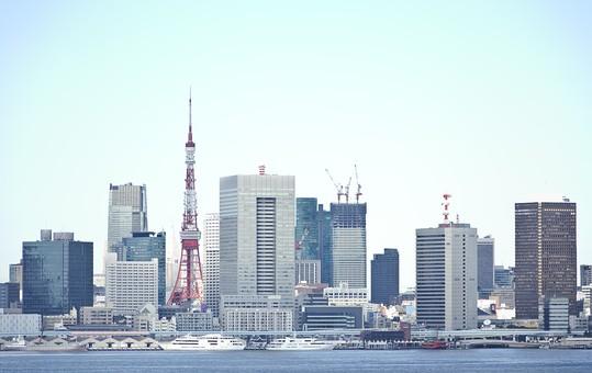 東京 日本 国内 東京都 首都 屋外 外 都会 建物 東京タワー 風景 景色 街並み 都市 ビル ビル街 晴れ 快晴 晴天 青空 空 高層ビル ビル群 眺め 景観