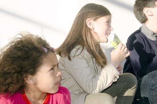 人物 生物 人間 生徒 学生 学童 子ども かわいい キッズ 幼い 外国人 外国 風景 学校 勉強 学び 教育 放課後 屋外 クラスメイト 校庭 広場 ランチ ランチタイム お昼 弁当 休憩 休み時間 昼休み サンドイッチ 女の子 女子  mdfk033 mdfk024