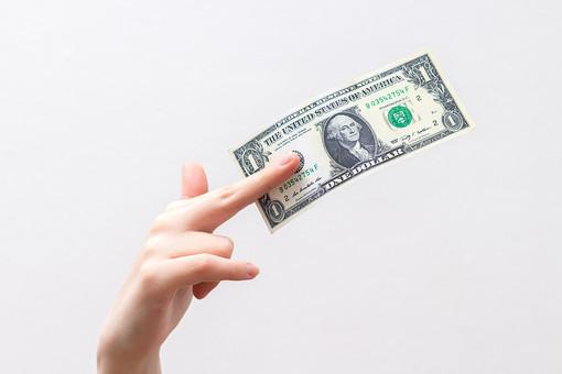 人 人間 人体 身体 人肌 肌 皮膚 手 指 手指 ゆび 関節 指の関節 デッサン 手のデッサン 手のモデル 手のポーズ  爪  右手  白い 白背景  曲げる 指を曲げる  手首 お金 紙幣 ドル紙幣 1ドル 見せつける 見せる 提示する 払う キャッシュ ハンドモデル