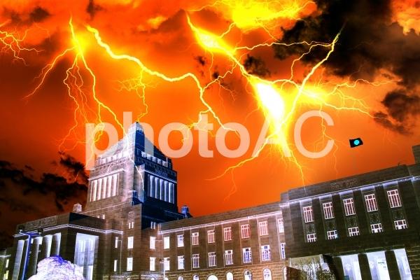 国会議事堂と落雷1の写真