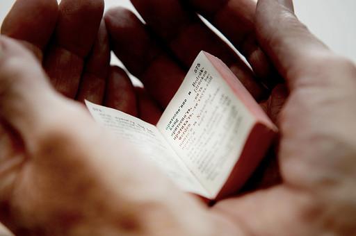 本 ブック 書物 書籍 図書 読書 読む 趣味 勉強 厚い 分厚い ミニ ミニチュア 小さい 小 ページ 開く めくる 捲る 置く 接写 クローズアップ アップ 乗せる 乗る 手 掌 手の平 両手 包み込む 包む 豆本