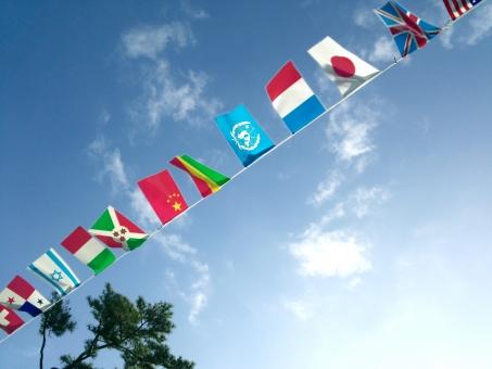 空 夏 晴れ 運動会 国旗 日本 海外 旗 9月 7月