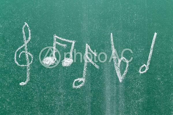 チョークで書かれた音符の写真