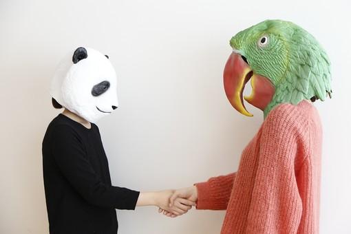 動物 動物マスク 人物 人間 ビジネス 会社 社員 会社員 2人 女性 OL インコ オウム パンダ 屋内 白バック 白背景 上半身 横向き 向き合う 握手 協力 連携 手を組む 駆け引き 仲直り 挨拶 LionPresident