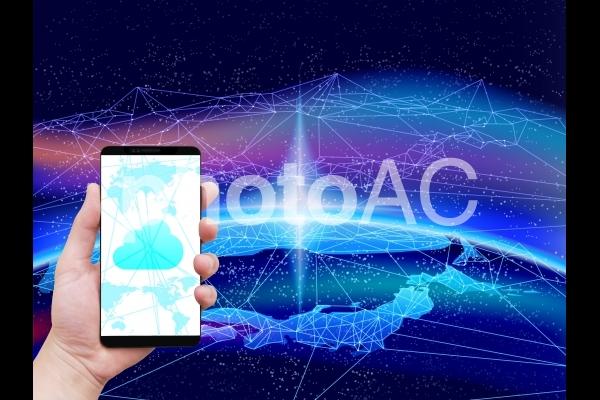 ネットワークテクノロジーとスマートフォンの写真
