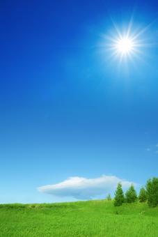 太陽と草原と青空と雲-縦長構図の写真