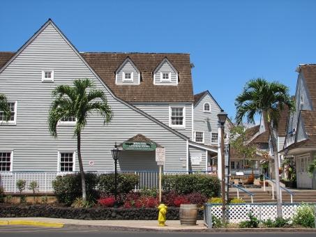 ハワイ マウイ島 ラハイナ 建物 町並み 白い家 椰子の木 外国 風景 青空 快晴 海外 観光地