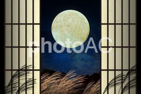 月見障子01の写真